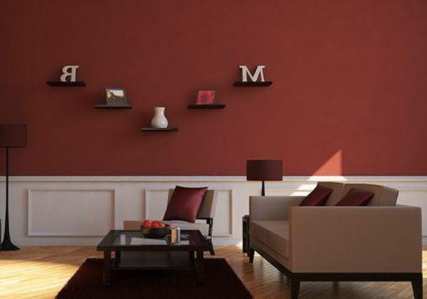 wohnung streichen - moderne farbe - dunkel rot - Wohnzimmer ...