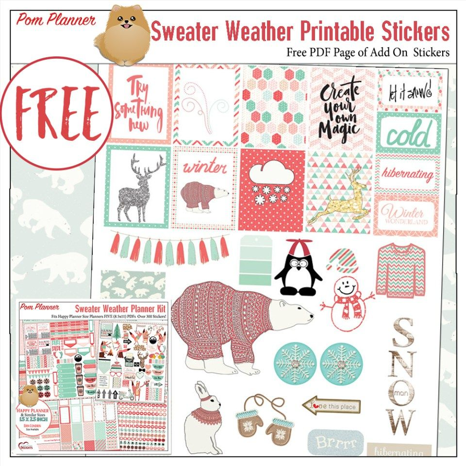 FREE Planner Stickers an Add On Pack for the Sweater Wether Planner Kit