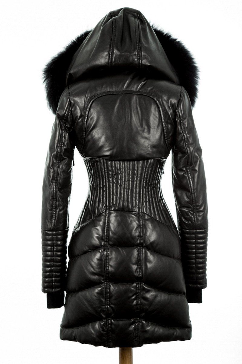 94abdfe2e Sia Leather Down Coat With Fur Trim in 2019 | Jackets | Coat, Down ...