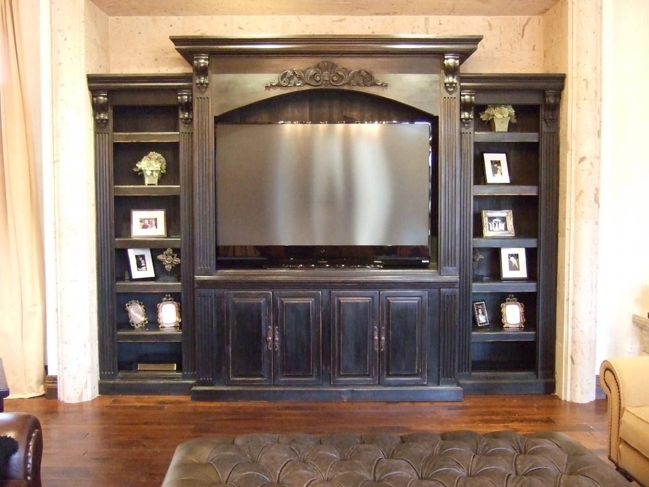Black Painted Custom Entertainment Center And Shelving