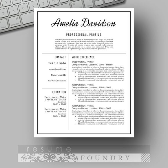 Resume and Cover Letter Professional resume template - resume templates word 2003