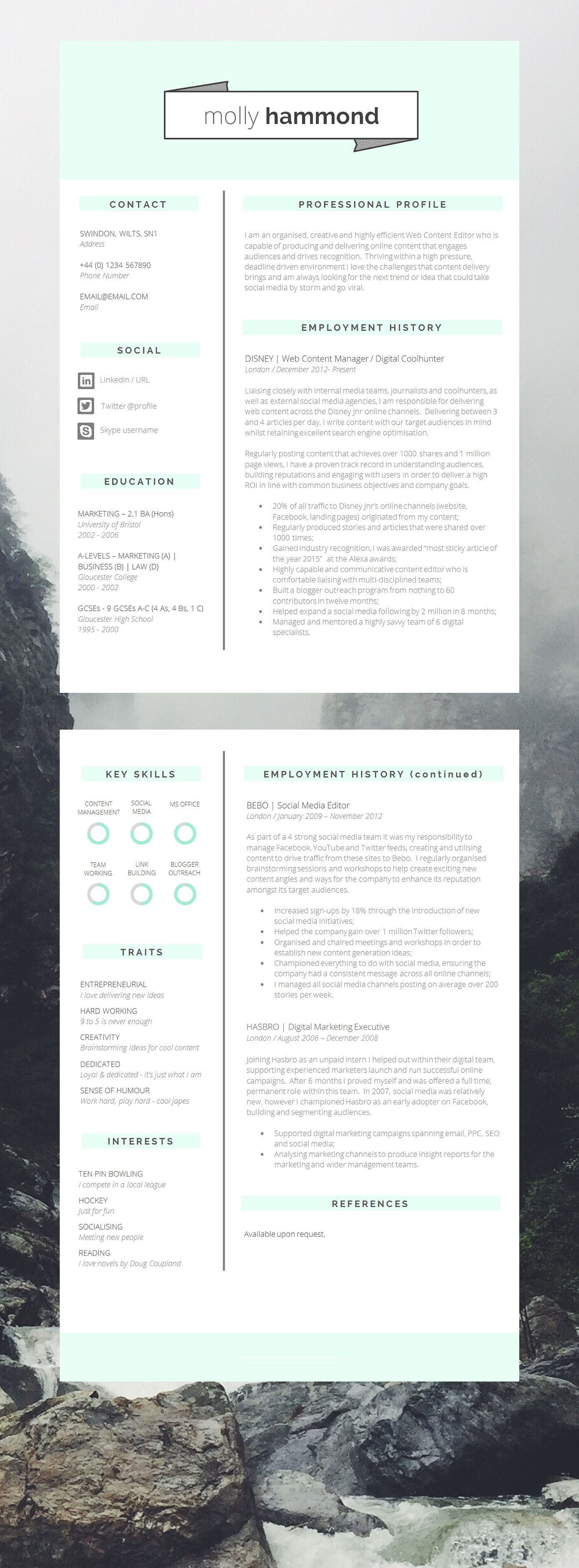 Epic Page Cv Template Resume Template Looking