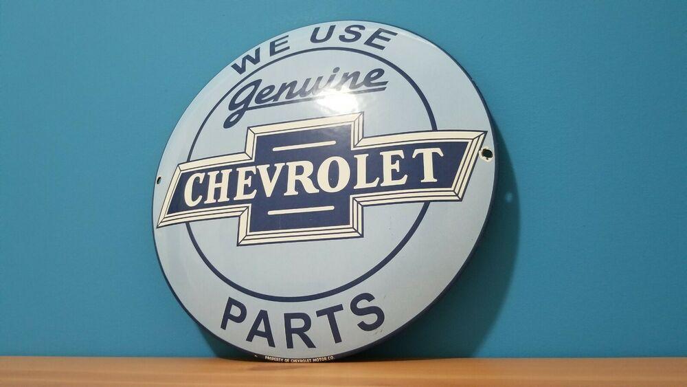 Vintage Porcelain Chevrolet Service Station Gas Oil Dealership Gm Button Sign Chevrolet Chevrolet Parts Retro Metal Signs Porcelain Signs