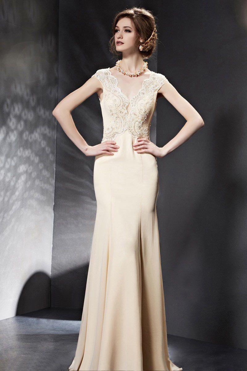 Chic chiffon short sleeves open back champagne evening dress