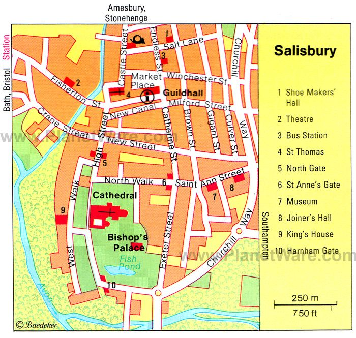 salisbury map tourist attractions