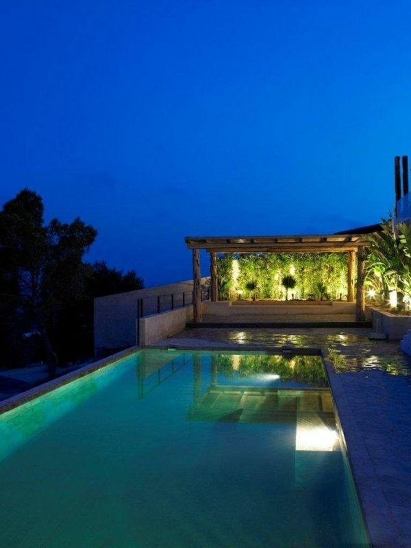 Pool Garten Beleuchtung Nacht Solar Lampen   roof top terrace ...