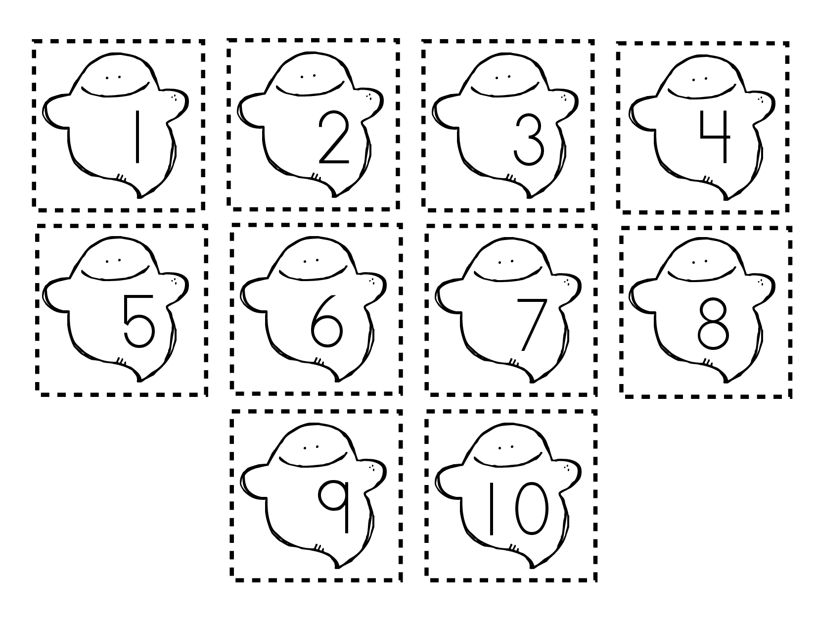 Ordering Numbers Goes With Ten Timid Ghost