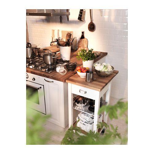 STENSTORP Konyhai zsúrkocsi, fehér, tölgy Kitchen carts, Extra - udden küche ikea