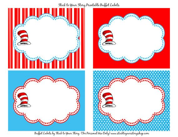 Candy Food Buffet Label Dr. Seuss Birthday by StickToYourStory | Baby boy | Pinterest | Food ...