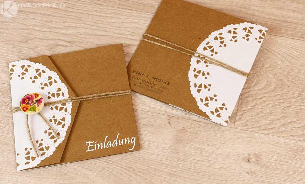 Einladung Hochzeitseinladung Hochzeit Karte Kraftpapier Vintage