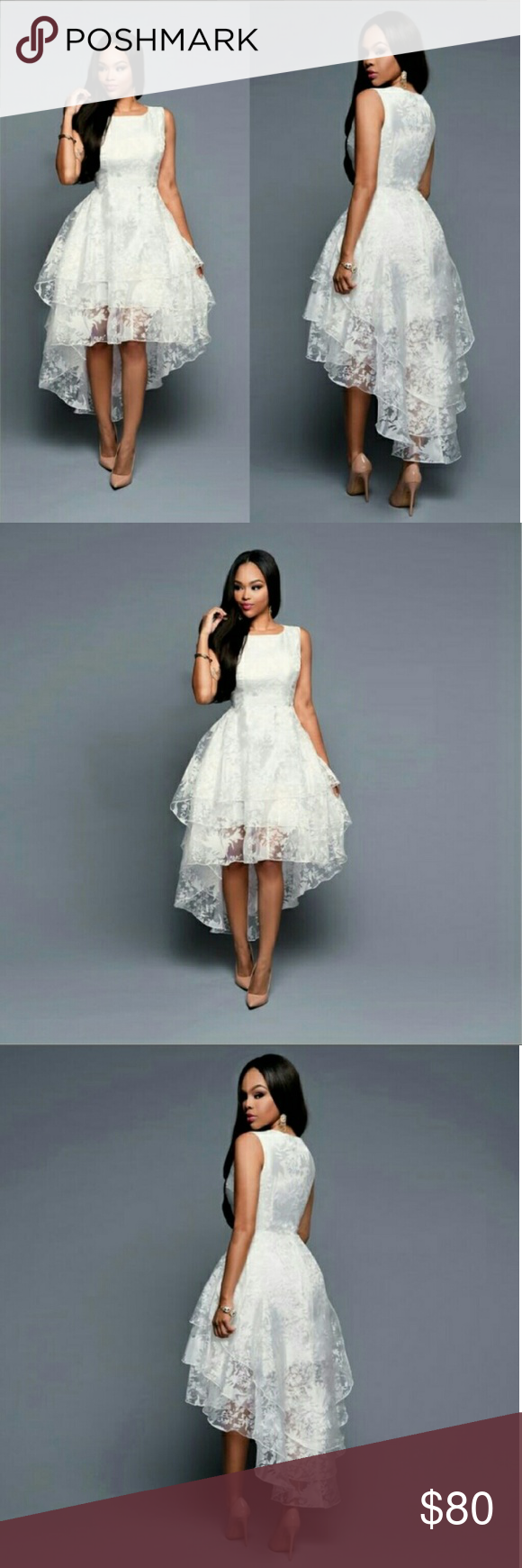 Sleeveless three layer lace gown ball,party,elegan New very cute white lace size LG tag on dress just came in yi-hi-jia Dresses Wedding