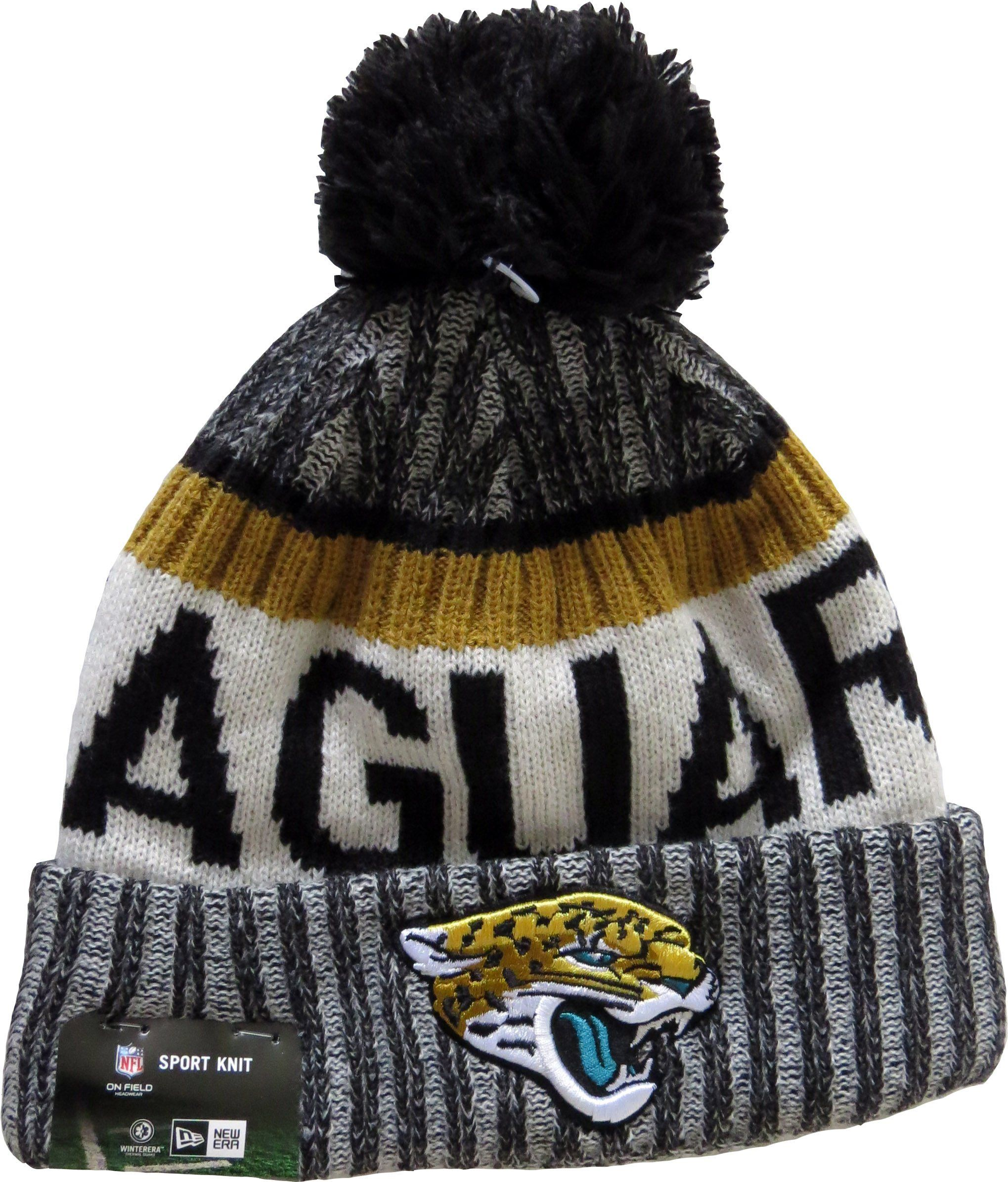 bae3e8d743b Jacksonville Jaguars New Era NFL 2017 On Field Sport Knit Bobble Hat. Team  colours with