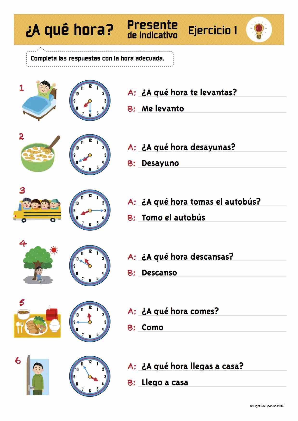 Spanish Time & Present Tense Verbs Exercises La hora + ...