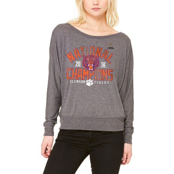 8cc2eac9a Clemson Tigers Let Loose by RNL Women's College Football Playoff 2016  National Champions Screen Pass Flowy Long Sleeve T-Shirt - Heathered Gray