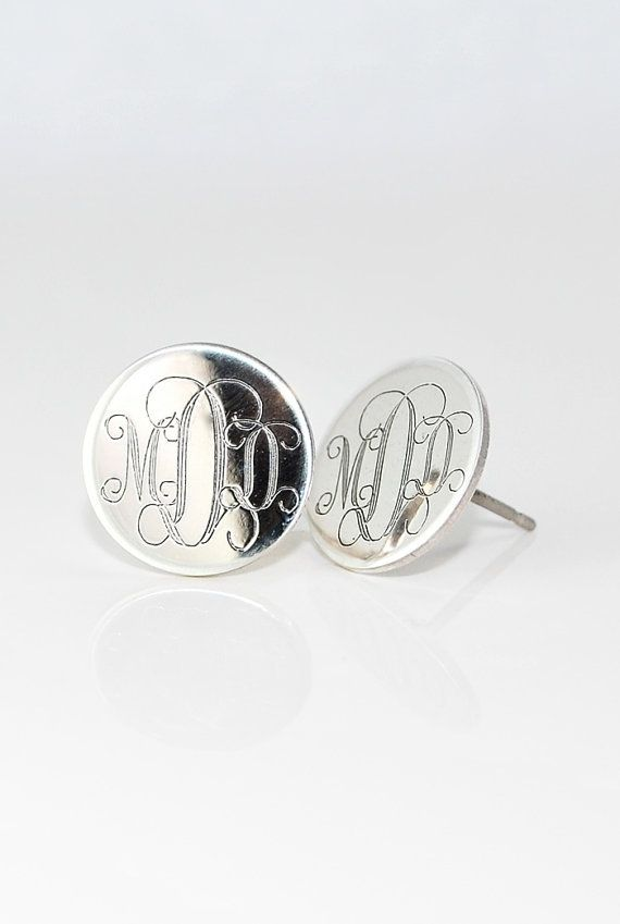 3 4 Inch Large Monogrammed Earrings Personalized Sterling Silver Initial Stud Posts Mothers Day Gift For Her Engraved Bridesmaids
