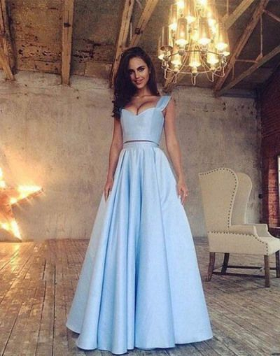 Prom Dress,Prom Dresses,A Line Blue Prom Dress,Elegant Evening
