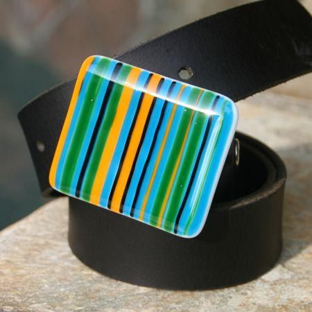 Vertical stripes of turquoise, yellow, green, and black. A stunning combination!    Hand-cut and kiln-fired fused glass – inherently strong and durable