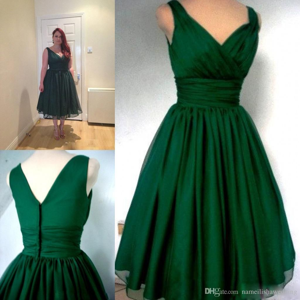Emerald Green 1950s Cocktail Dress Vintage Tea Length Cheap Under ...