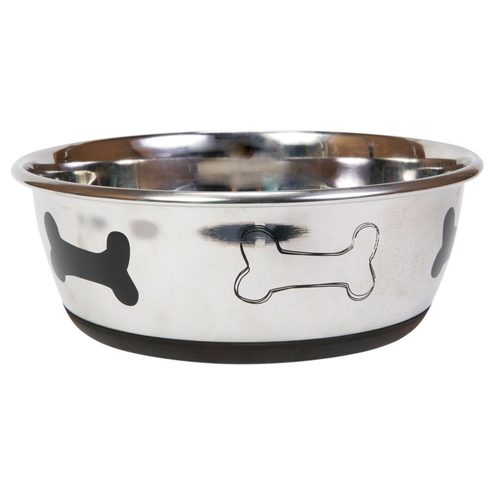 Top Paw Bone Dog Bowl Size 4 Qt Silver Dog Bowls Dog Water