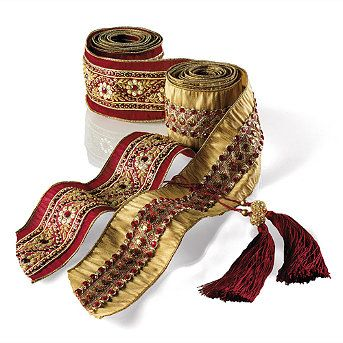 Medici Burgundy with Gold Jewels Ribbon