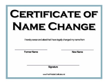 After a legal name change, this blue certificate can be used to