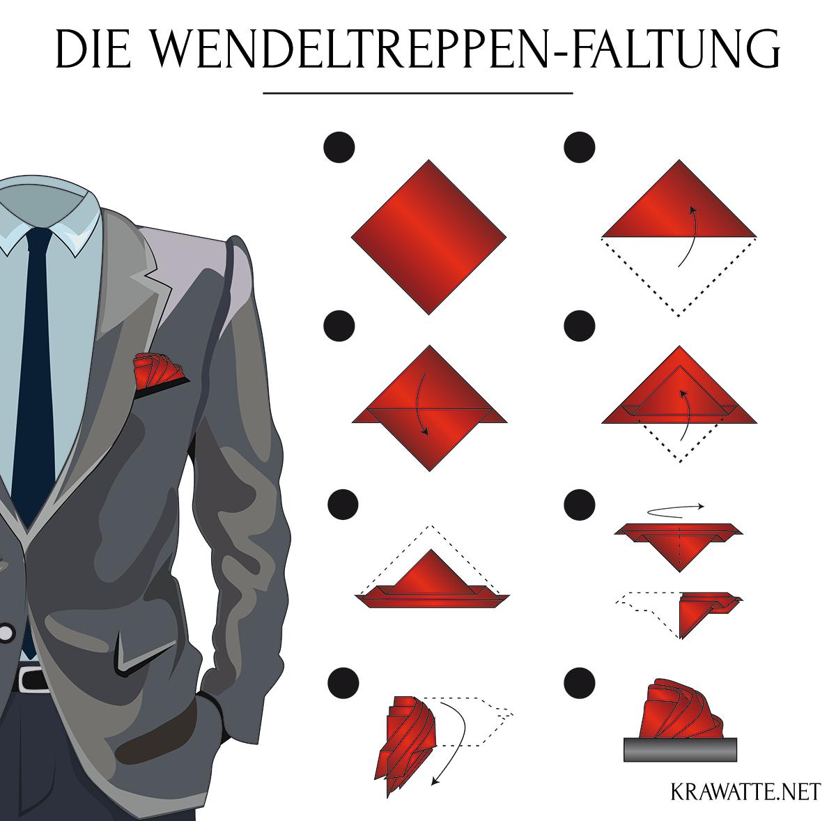 Die Wendeltreppen-Faltung | Anleitung Einstecktuch falten ...