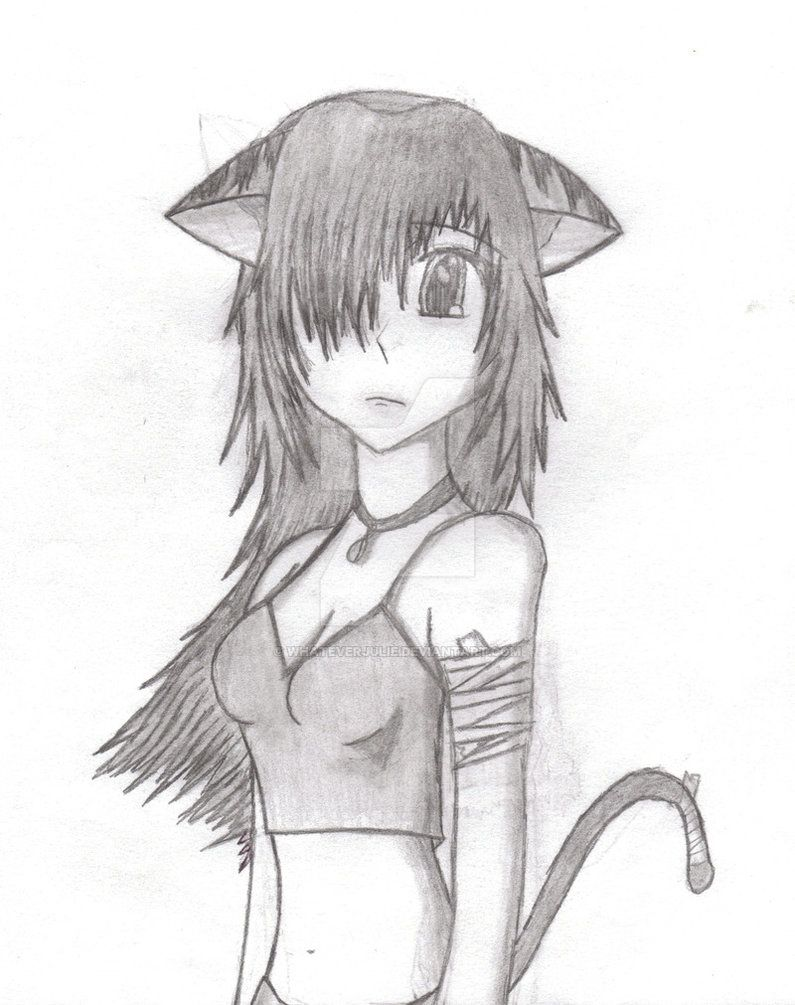 Anime Cat Sketch : anime, sketch, Anime, Drawing, Girlwhateverjulie, Girl,