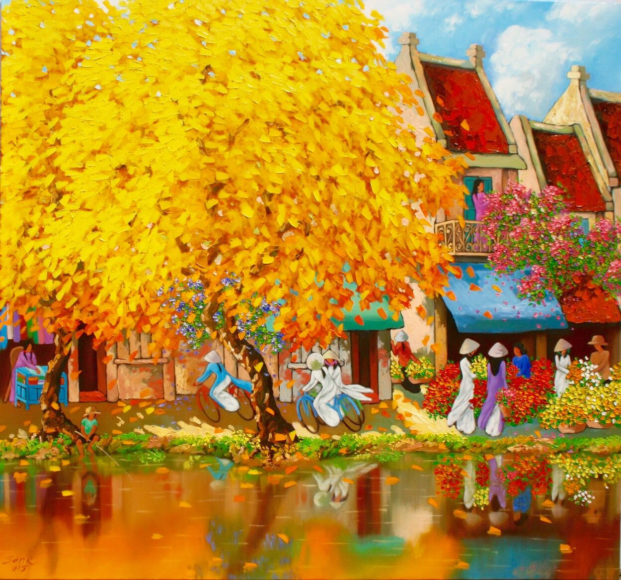 Autumn in Hanoi by Vietnam artist Duong Ngoc Son ... View his paintings at www.eyegalleryvn.com