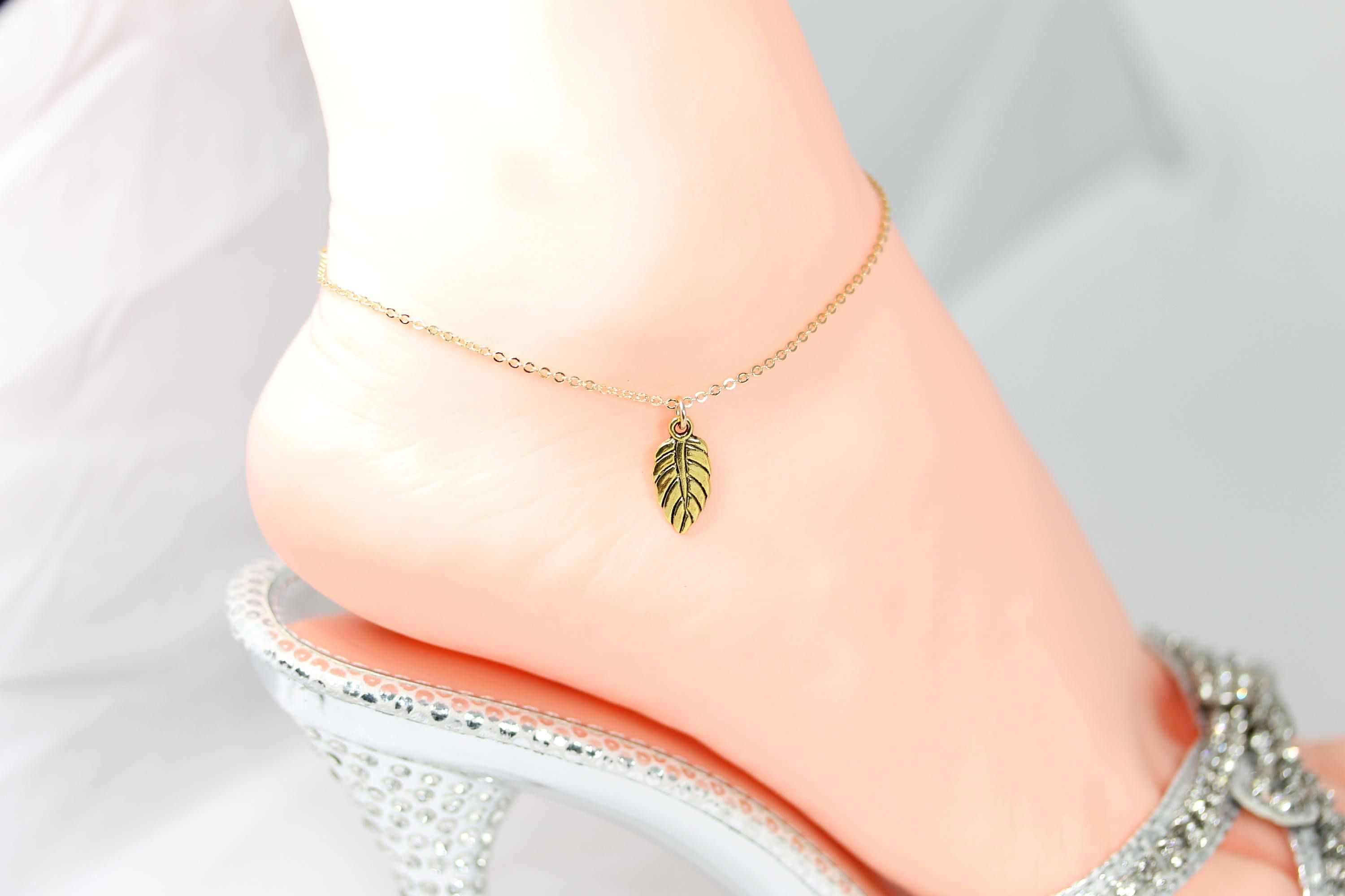 ankle sister fill her chain from tiny on bracelet gold heart anklet filled set etsy juljewelry for thin layering p beads high gift of quality silver bracelets