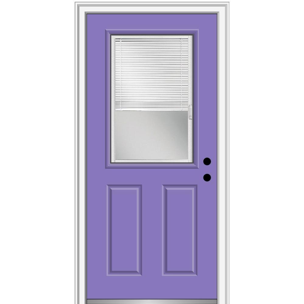 Mmi Door 36 In X 80 In Internal Blinds Left Hand Inswing 1 2 Lite Clear Painted Steel Prehung Front Door Purple Orchid Aluminum Screen Doors Prehung Doors White Blinds