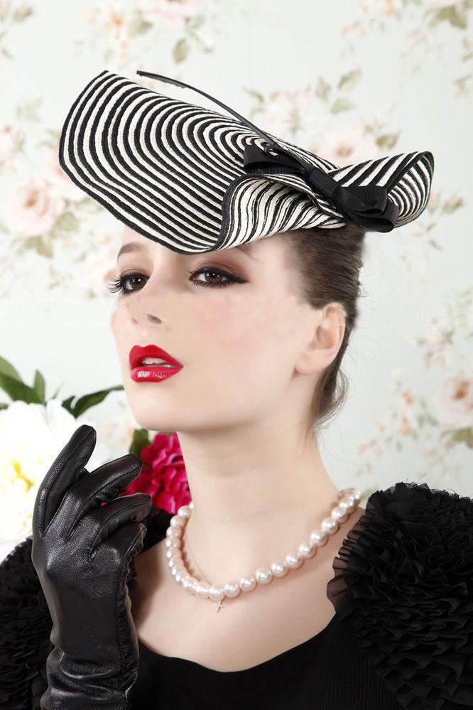 da7bc3655f9 Womens Dress Fascinator Straw Hat Party Wedding Church Show Party Feather  Zebra  Handmade  Fascinator