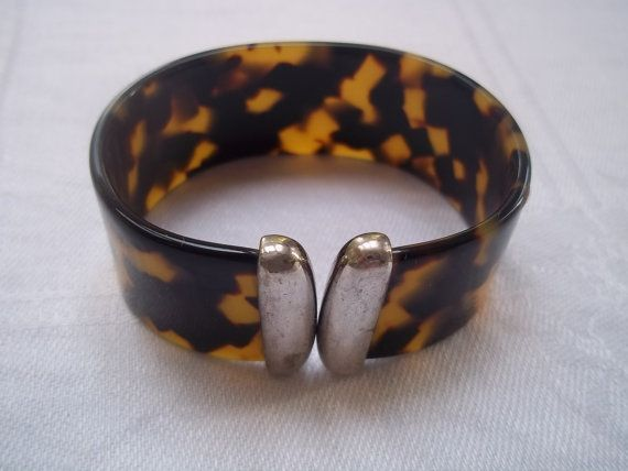 Faux Tortoiseshell and Silver Cuff  Bracelet by ggibson on Etsy