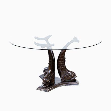 Skulpturaler Italienischer Messing Koi Fisch Esstisch, 1960er - esszimmer italienisch