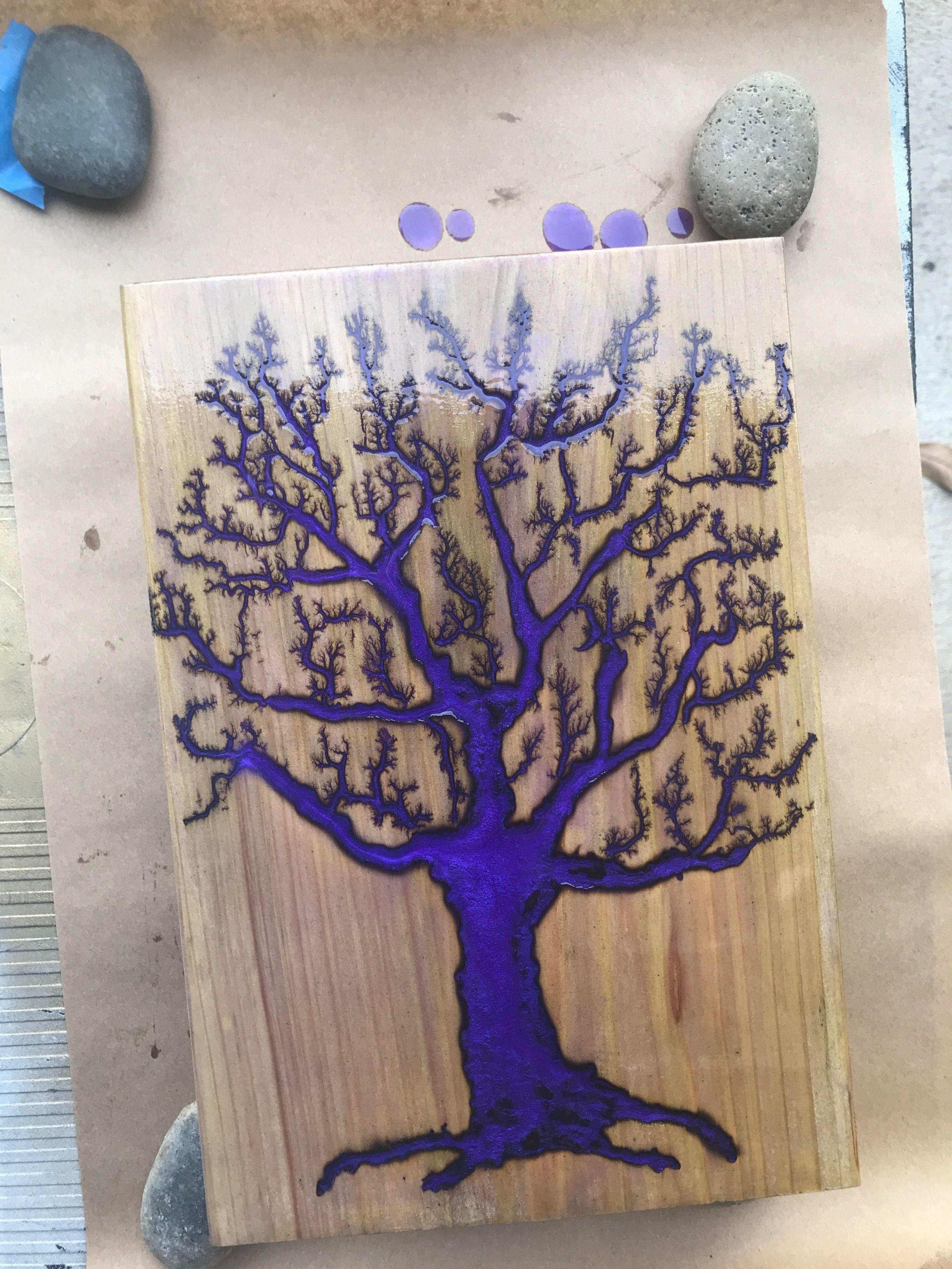 Purple Fractal Tree Lichtenberg Welding Art Projects Wood