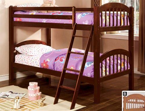 Aaron Cherry Wood Twin Bunk Bed Bunk Beds Kids Bunk Beds Twin