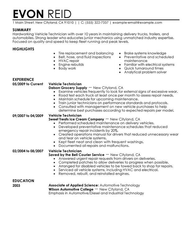 Auto Mechanic Resume Sample Captivating Resume Examples Diesel Mechanic  Pinterest  Auto Collision Repair .