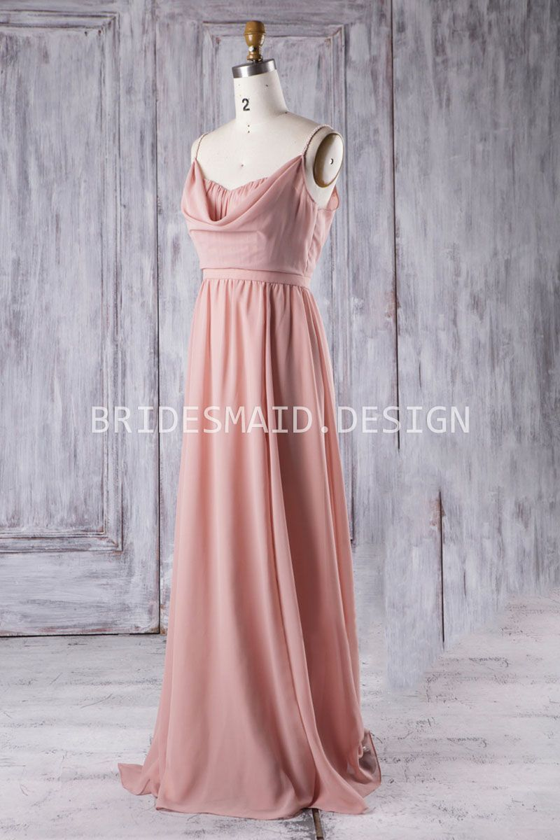 This Modest Pink Chiffon Bridesmaid Dress Features Its Exquisite Cowl Neck Overlay Pearls Adorned
