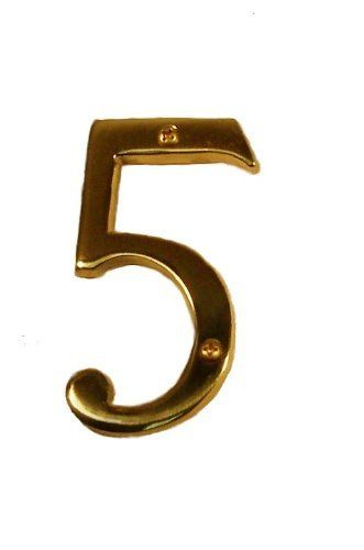 Brass Accents I07 N5350 606 Satin Brass Address Numbers Traditional 4 Raised Numeral 5 By Brass Accents 10 54 Brass Accents I07 N5350 Add Garden Plaques Outdoor Gardens Outdoor Decor