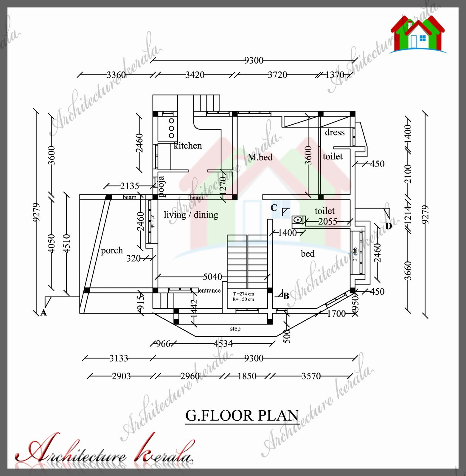 1800 Sq Ft House Plan With Detail Dimensions Four Bedroom House