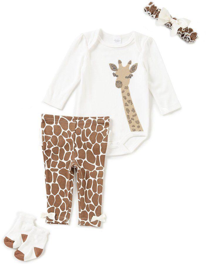 06a195833 Starting Out Baby Girls Newborn-9 Months Giraffe-Applique 4-Piece ...