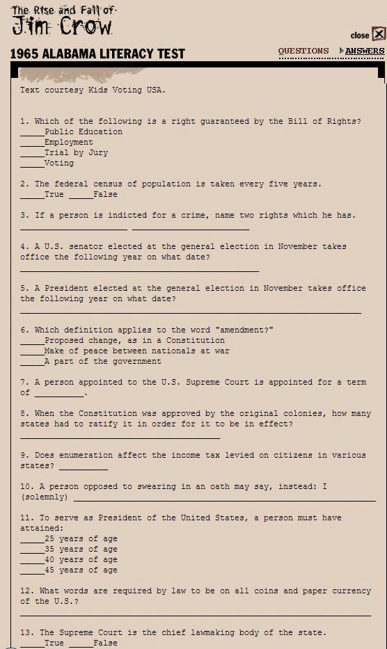The 1965 Alabama Literacy Test For Non White Voters Take The