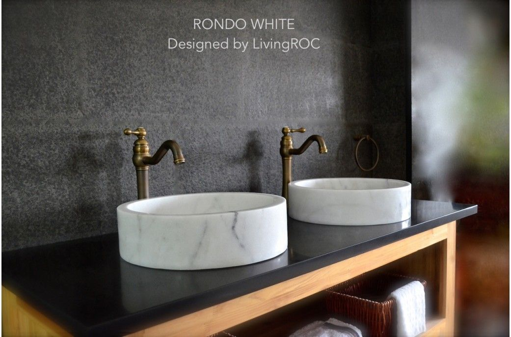 400mm Round Marble Stone Bathroom Vessel Basin Rondo White Stone Vessel Sinks Sink Bathroom Sink Bowls