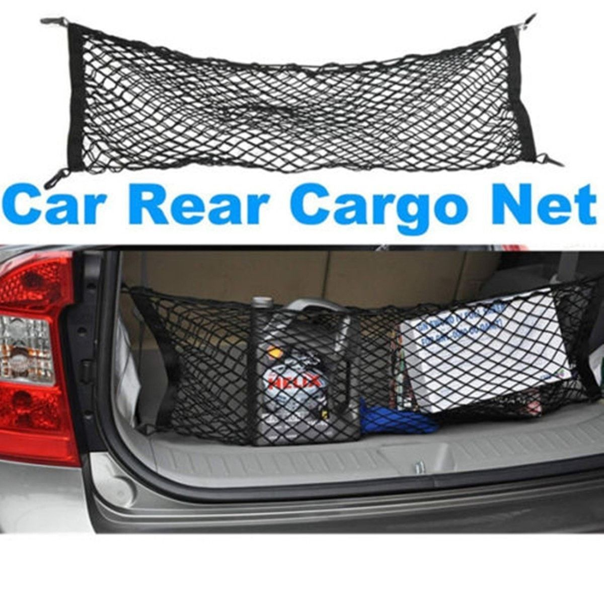 90x35cm Versatile Car SUV Truck Cargo Rear Storage Luggage Elastic Mesh Net Kit