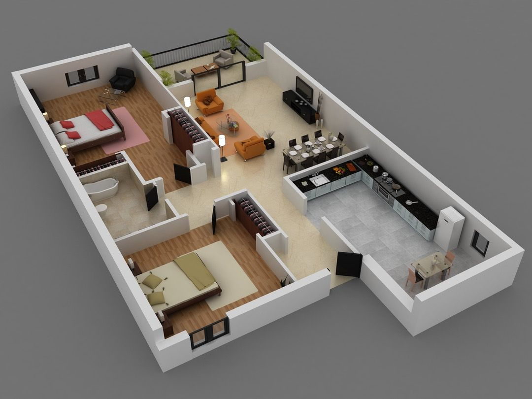 3 Bedroom Duplex House 3d House Layout Design Online And A Plans