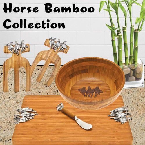 Horse bamboo kitchen collection - server & spreader, salad bowl, & salad hands | ChickSaddlery.com