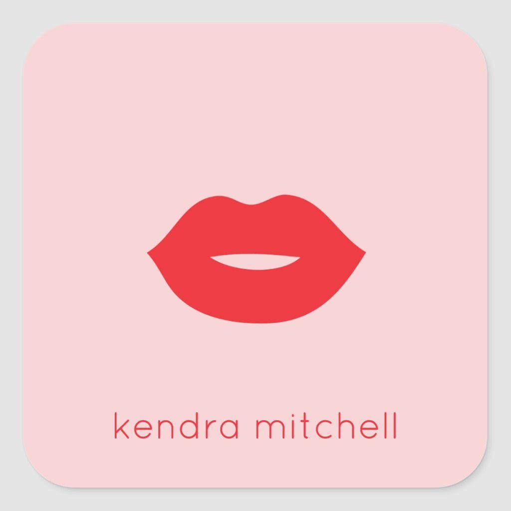 Bold Minimalist Red Lips Logo Makeup Artist Pink Square Sticker