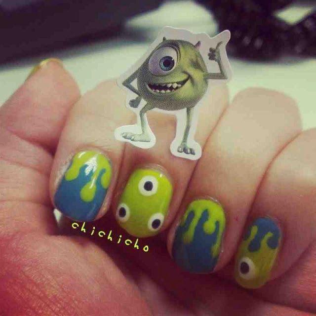 Monster Inc Mike Wazowski Nail Art | chichicho~ nail art addicts ...