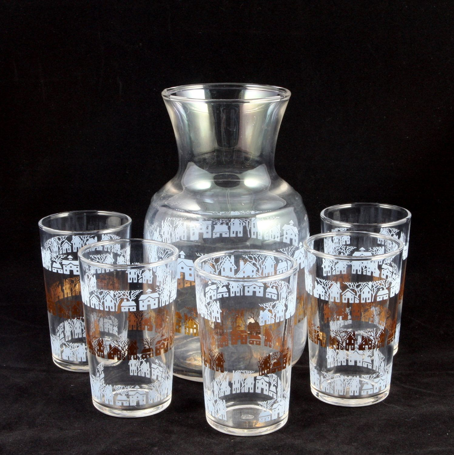 Vtg Federal Glass Juice Set Carafe Glasses Blue Gold Houses