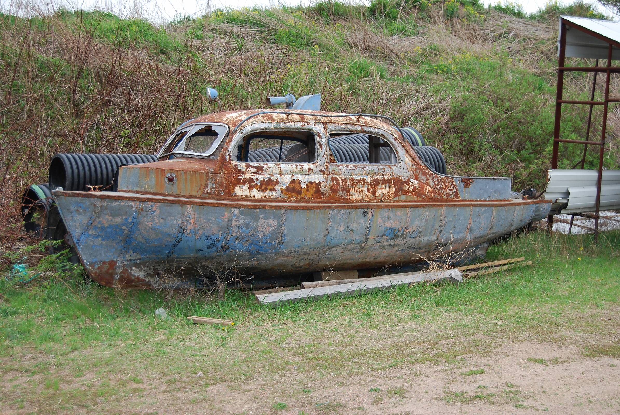 Boat with a car body for a cabin... | Other Things With Wheels, or Wings, or... | Vintage boats ...