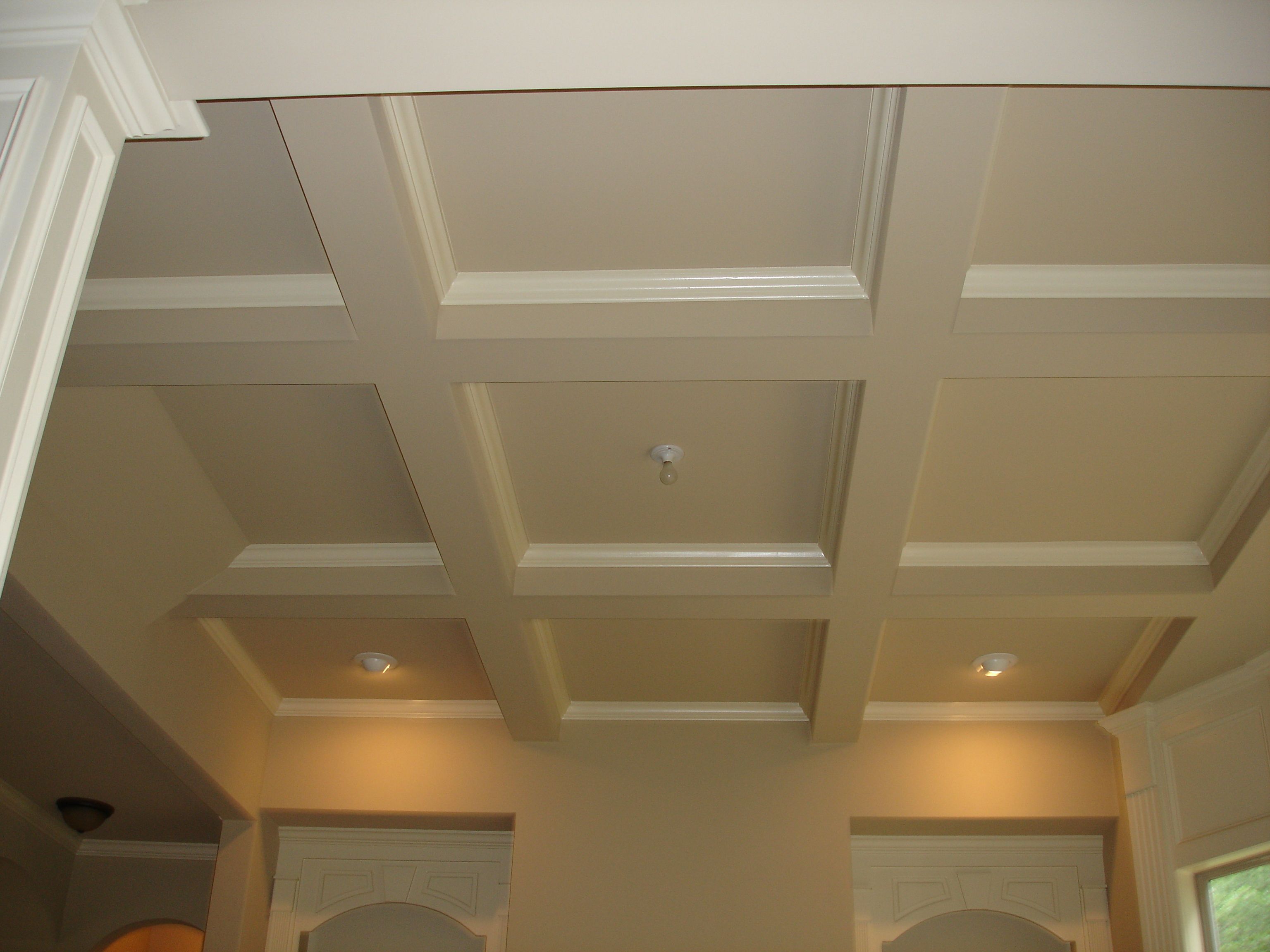 It S Standard Operating Procedure To Paint Your Walls A Color While Maintaining The Ceiling White We Ve Bee Easy Basement Ceiling Coffered Ceiling Low Ceiling